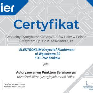 Certyfikat Haier APS ELEKTROKLIM Krzysztof Fundament pdf 300x300