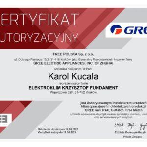 certyfikat GREE split KAROL KUCALA 08.2020 300x300